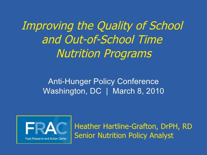 Improving the quality of school and out of-school time nutrition programs