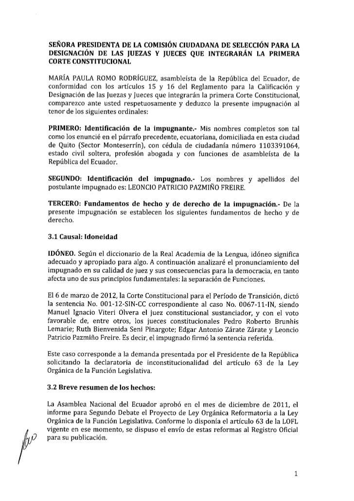 Impugnación Patricio Pazmiño