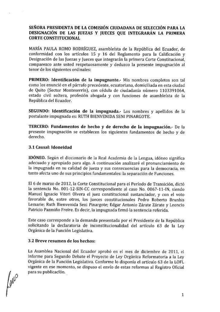 Impugnación Ruth Seni Pinargote