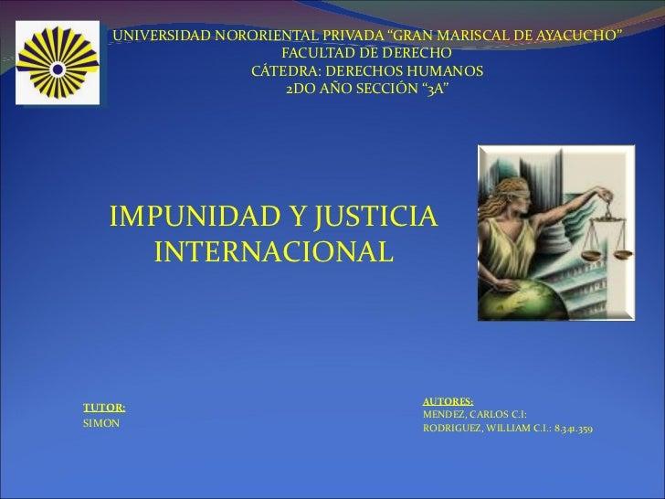 Impunidad y justicia internacional1