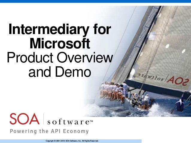 Intermediary for Microsoft Product Overview and Demo  Copyright © 2001-2013 SOA Software, Inc. All Rights Reserved.