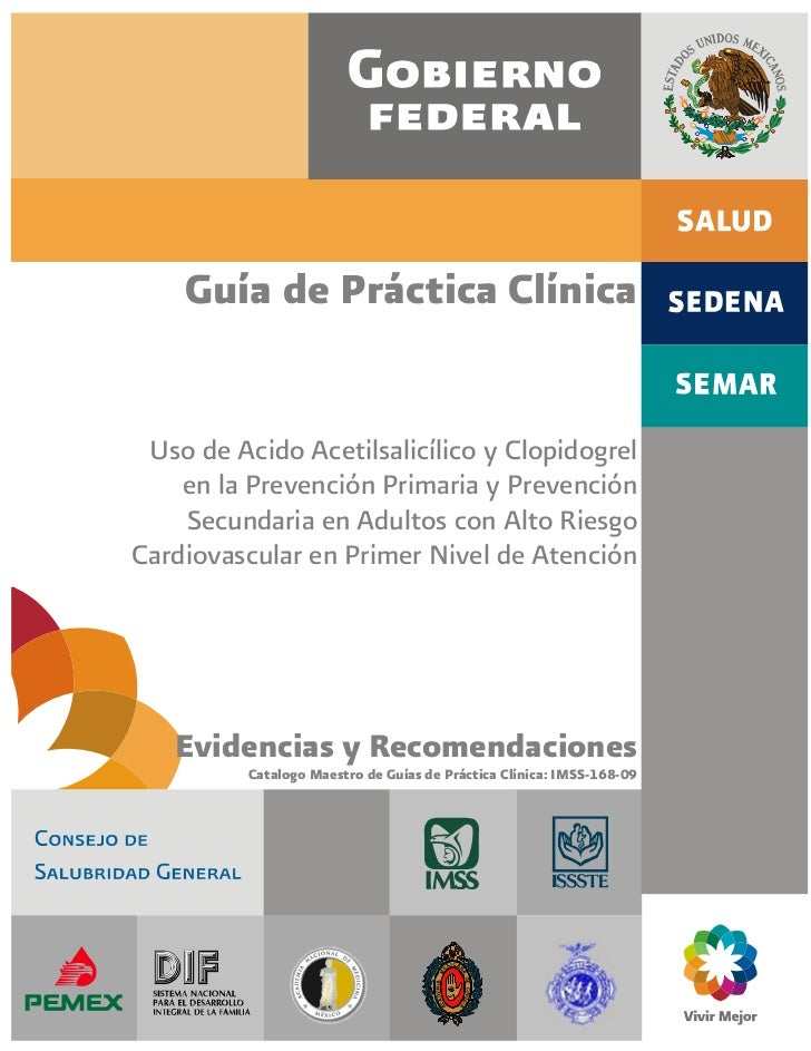 Evidencia y recomendaciónes: Uso de ácido acetilsalicílico y clopidogrel en la prevención primaria y prevención secundaria en adultos con alto riesgo cardiovascular en primer nivel de atención