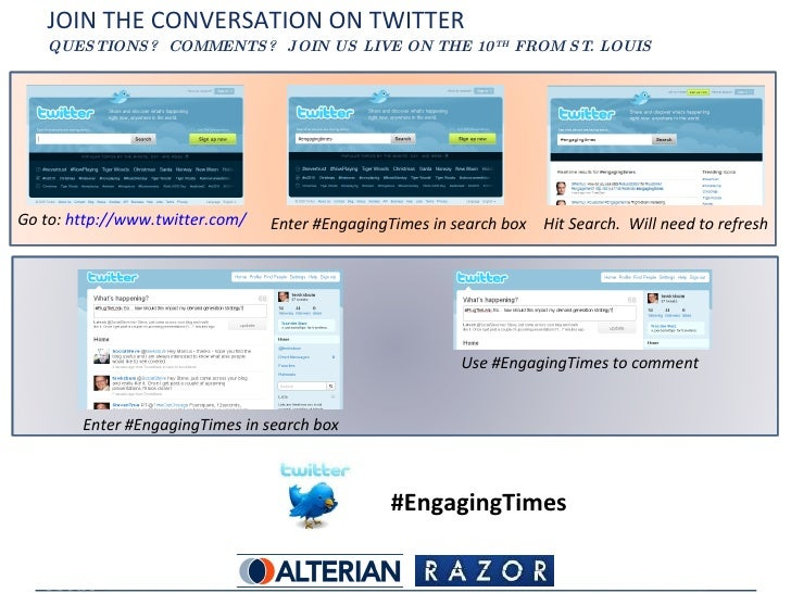 JOIN THE CONVERSATION ON TWITTER QUESTIONS?  COMMENTS?  JOIN US LIVE ON THE 10 TH  FROM ST. LOUIS #EngagingTimes Go to:  h...