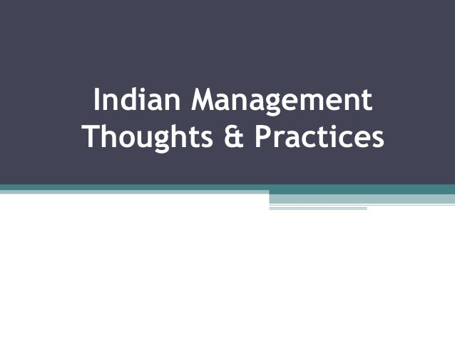 Indian Management Thoughts and Practises- BMS