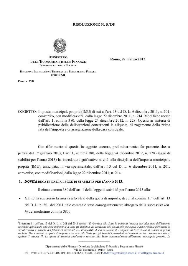 Imu 2013 risoluzione_5_pubblicazione_delibere_e_altro_sito