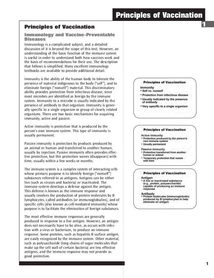 Principles of VaccinationPrinciples of Vaccination                                                            1Immunology ...