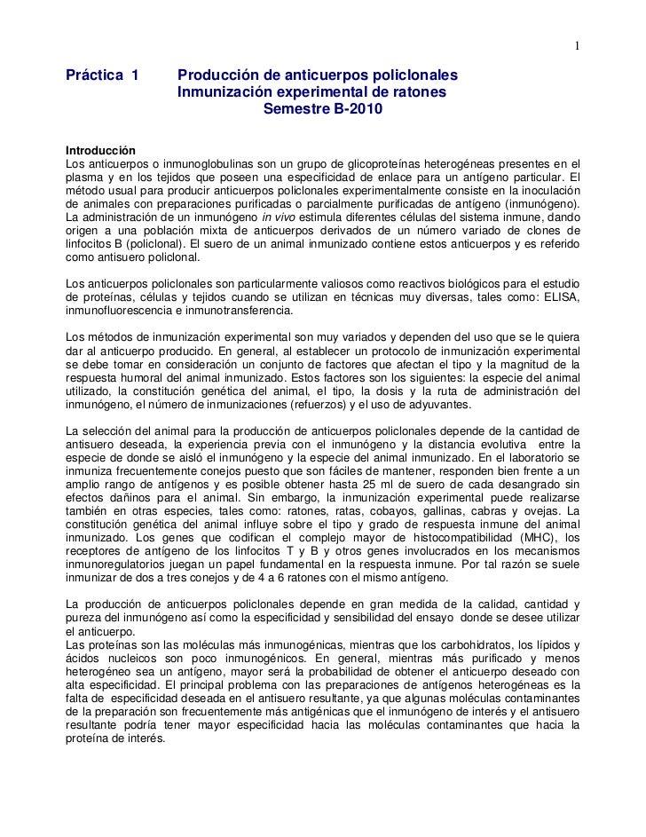 1Práctica 1           Producción de anticuerpos policlonales                     Inmunización experimental de ratones     ...
