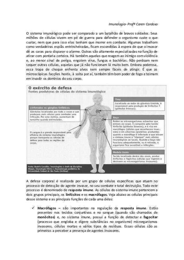Imunologia- Profª Caren Cardoso O sistema imunológico pode ser comparado a um batalhão de bravos soldados. Seus milhões de...