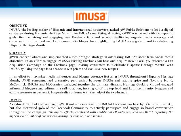 OBJECTIVE IMUSA, the leading maker of Hispanic and International houseware, tasked 5W Public Relations to lead a digital c...