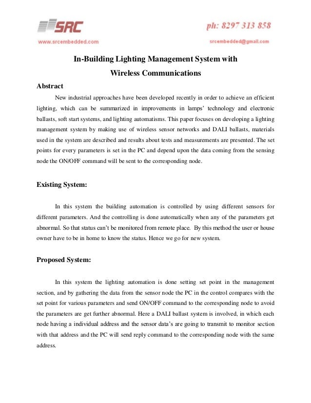 In-Building Lighting Management System with Wireless Communications Abstract New industrial approaches have been developed...
