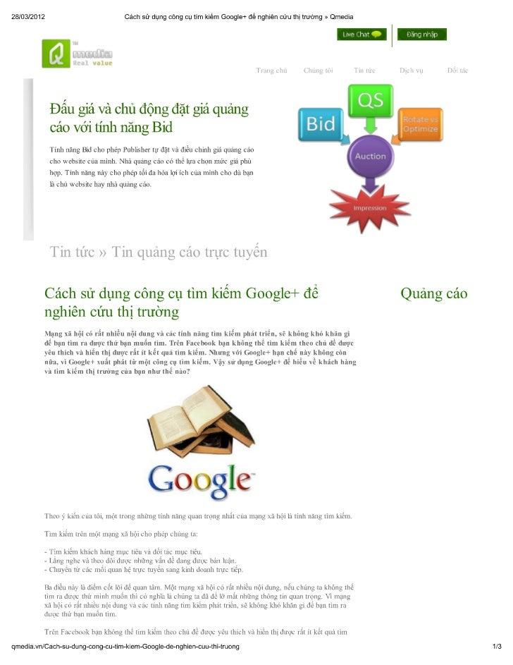 Cách sử dụng công cụ tìm kiếm google+ để nghiên cứu thị trường » qmedia