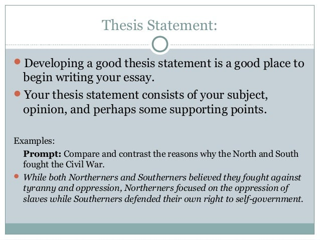 Exercises writing good thesis statement