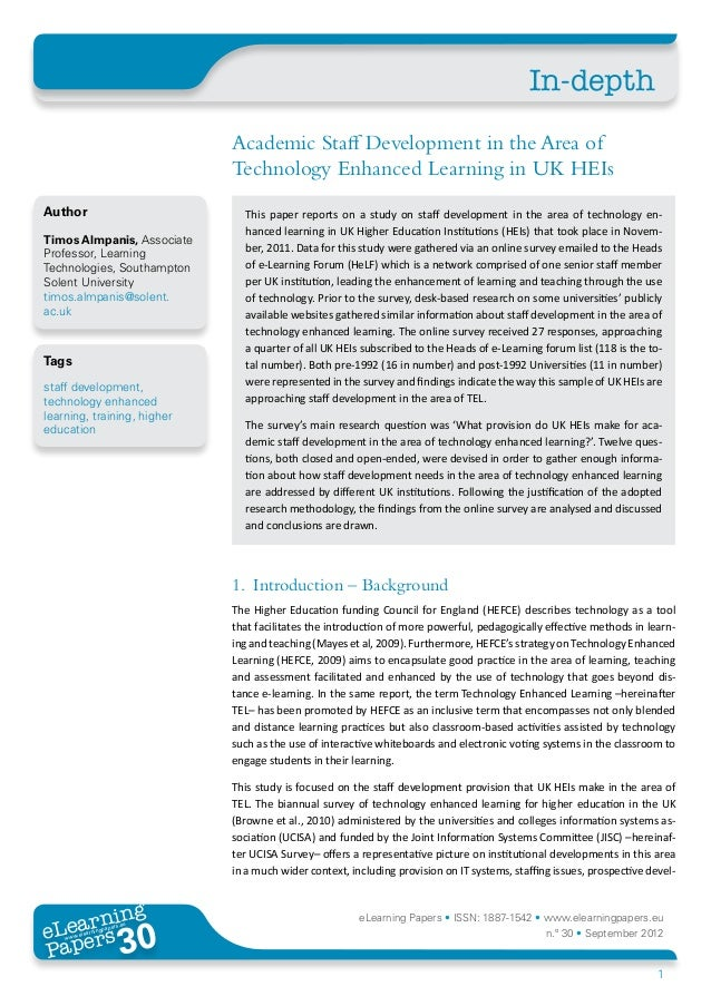 Academic Staff Development in the Area of Technology Enhanced Learning in UK HEIs