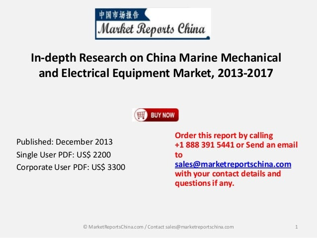 Marine Mechanical and Electrical Equipment Market in China 2017