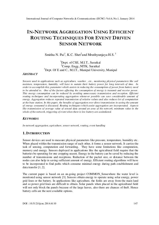 In network aggregation using efficient routing techniques for event driven sensor network