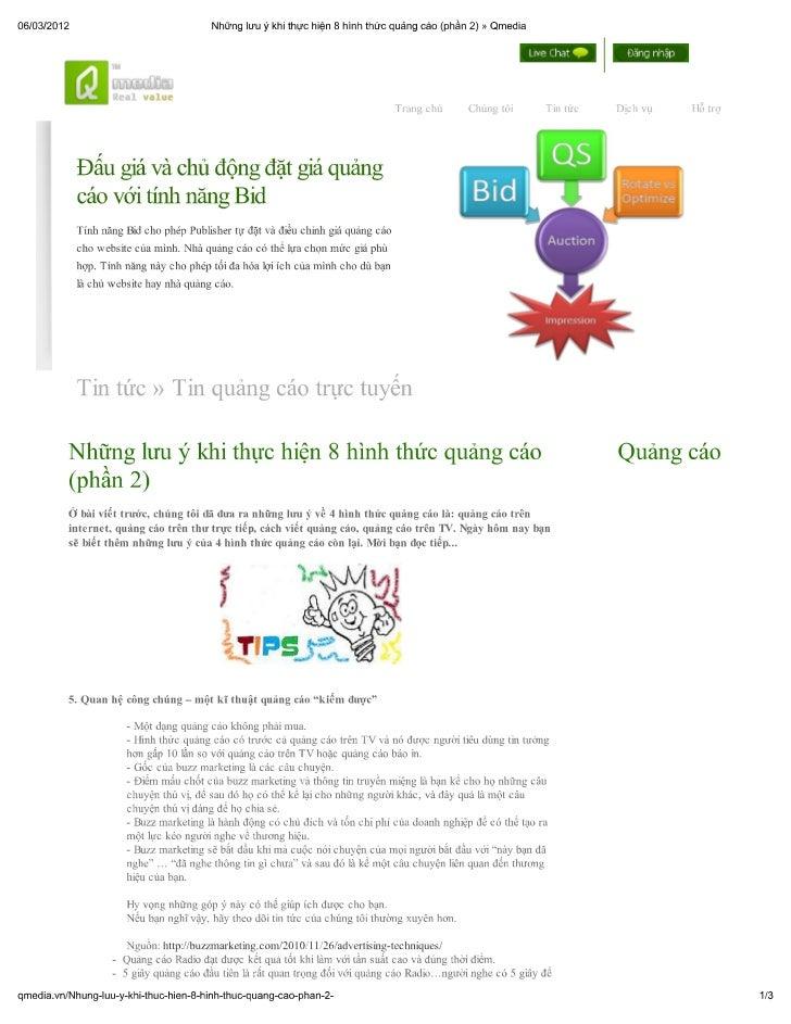 Những lưu ý khi thực hiện 8 hình thức quảng cáo (phần 2) » qmedia
