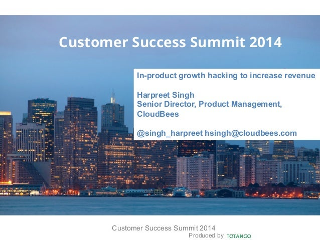 Produced by Customer Success Summit 2014 Customer Success Summit 2014 In-product growth hacking to increase revenue Harpre...