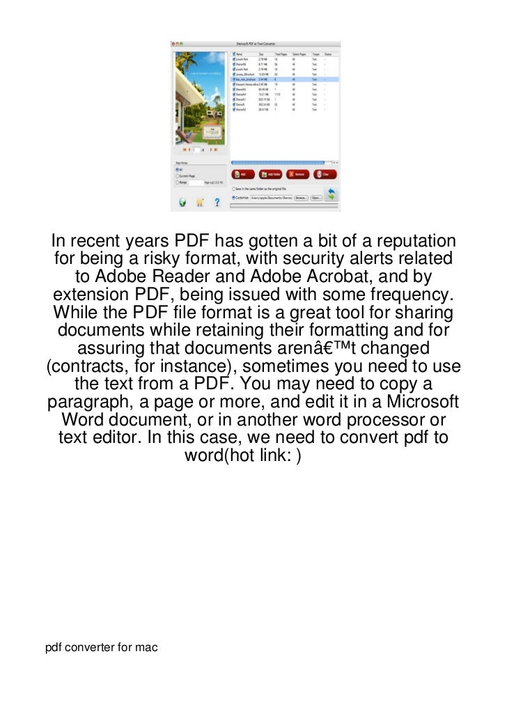 In recent years PDF has gotten a bit of a reputation  for being a risky format, with security alerts related     to Adobe ...