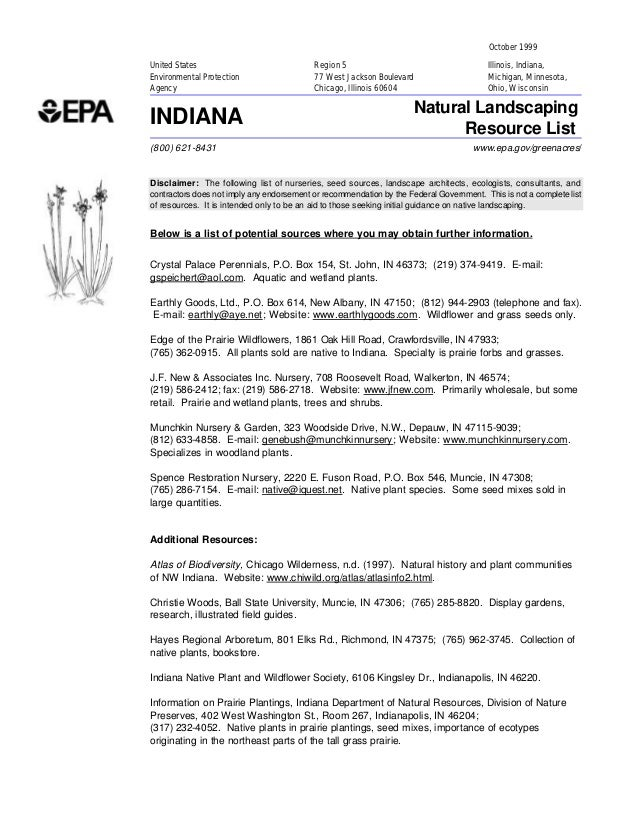 Indiana Greenacres: Natural Landscaping Resource List
