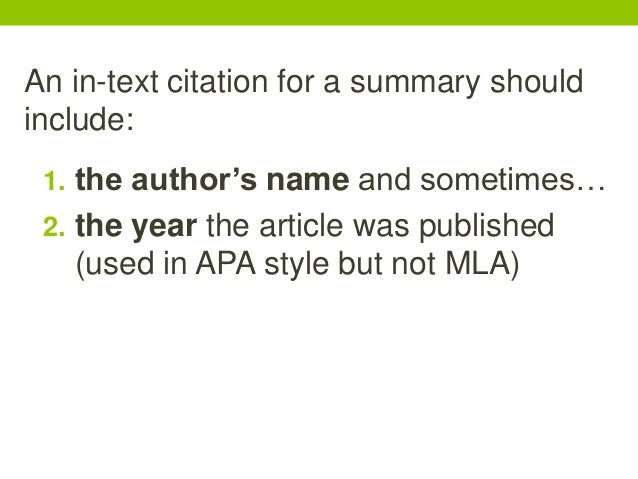 When exactly should an in-text citation come into play?