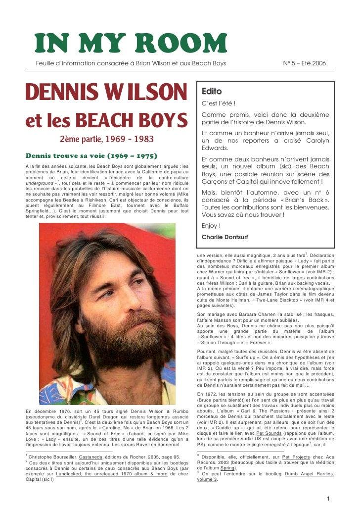Feuille d'information consacrée à Brian Wilson et aux Beach Boys                                                     N° 5 ...