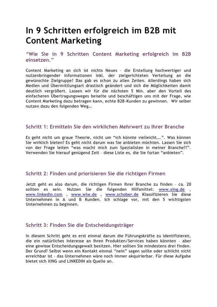 """In 9 Schritten erfolgreich im B2B mitContent Marketing""""Wie Sie in 9 Schritten Content Marketing erfolgreich im B2Beinsetze..."""