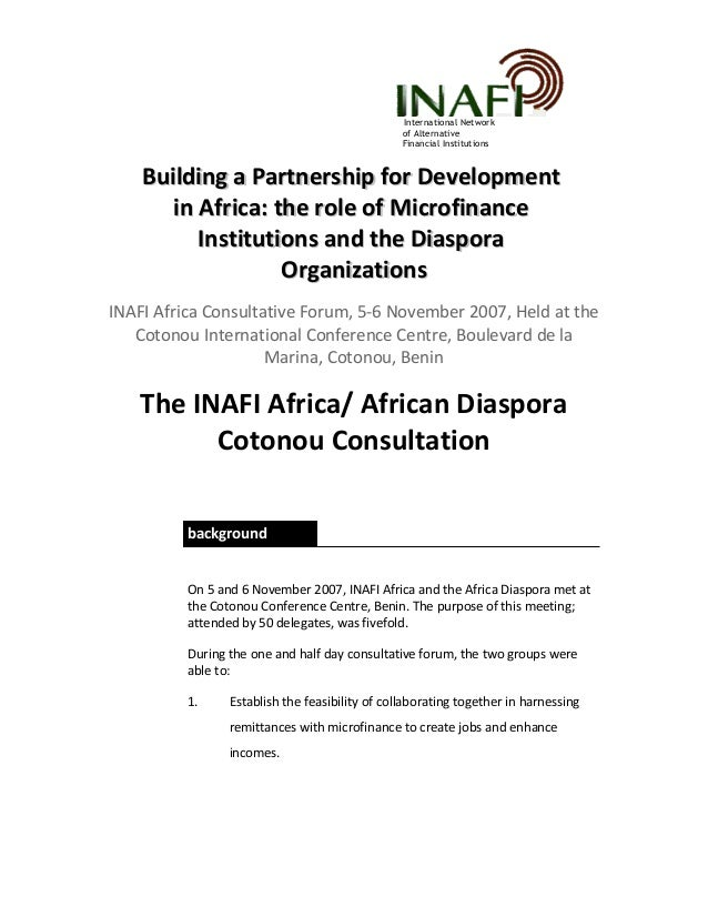 Inafi africa cotonou declaration