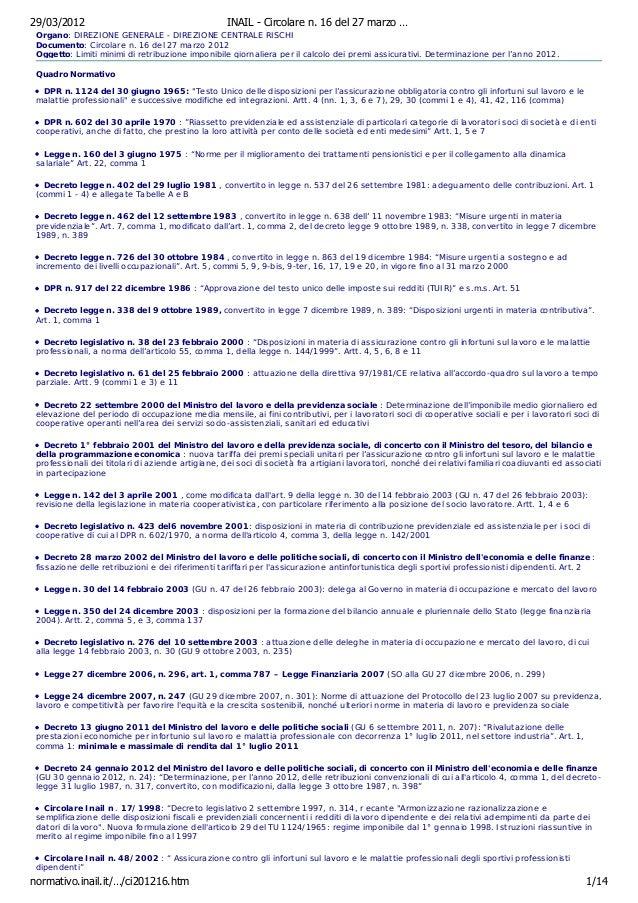 29/03/2012                                         INAIL - Circolare n. 16 del 27 marzo … Organo: DIREZIONE GENERALE - DIR...