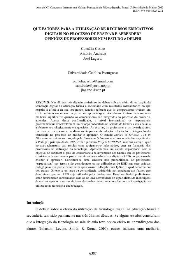 Que Fatores para a Utilização de Recursos Educativos Digitais no Processo de Ensinar e Aprender? Opiniões de Professores num Estudo e-Delphi