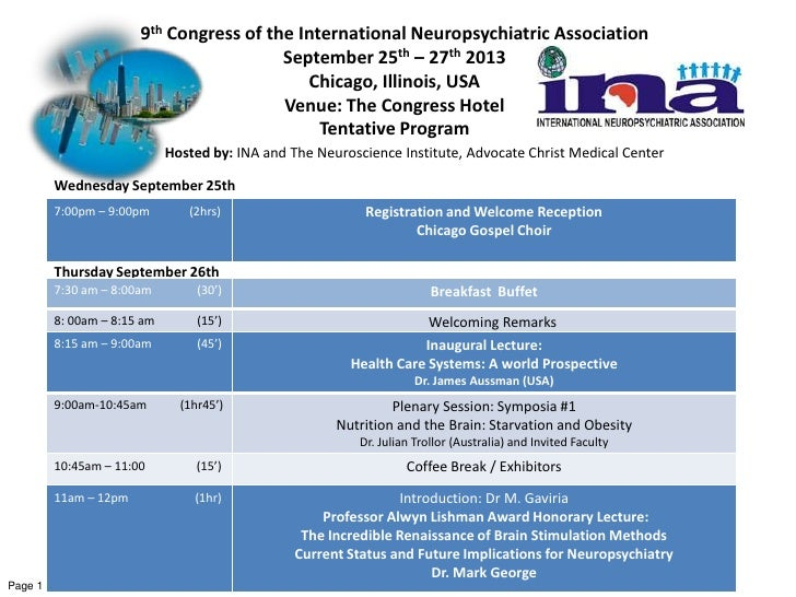 9th Congress of the International Neuropsychiatric Association                                         September 25th – 27...