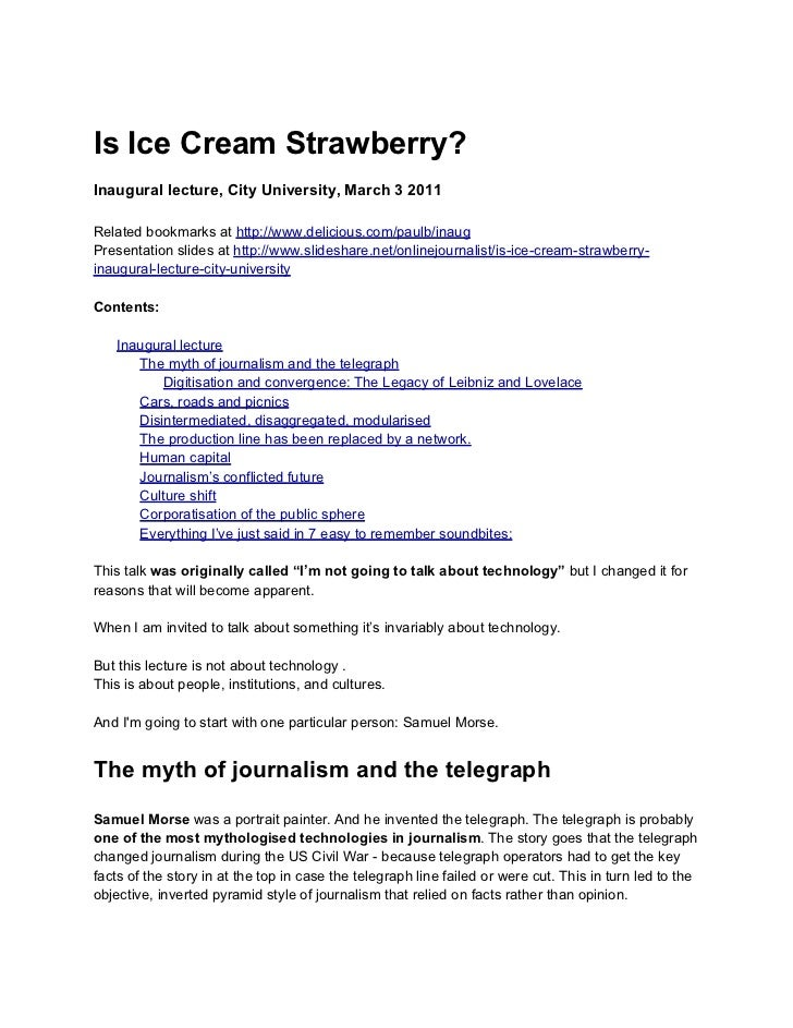 Is Ice Cream Strawberry?Inaugural lecture, City University, March 3 2011Related bookmarks at http://www.delicious.com/paul...