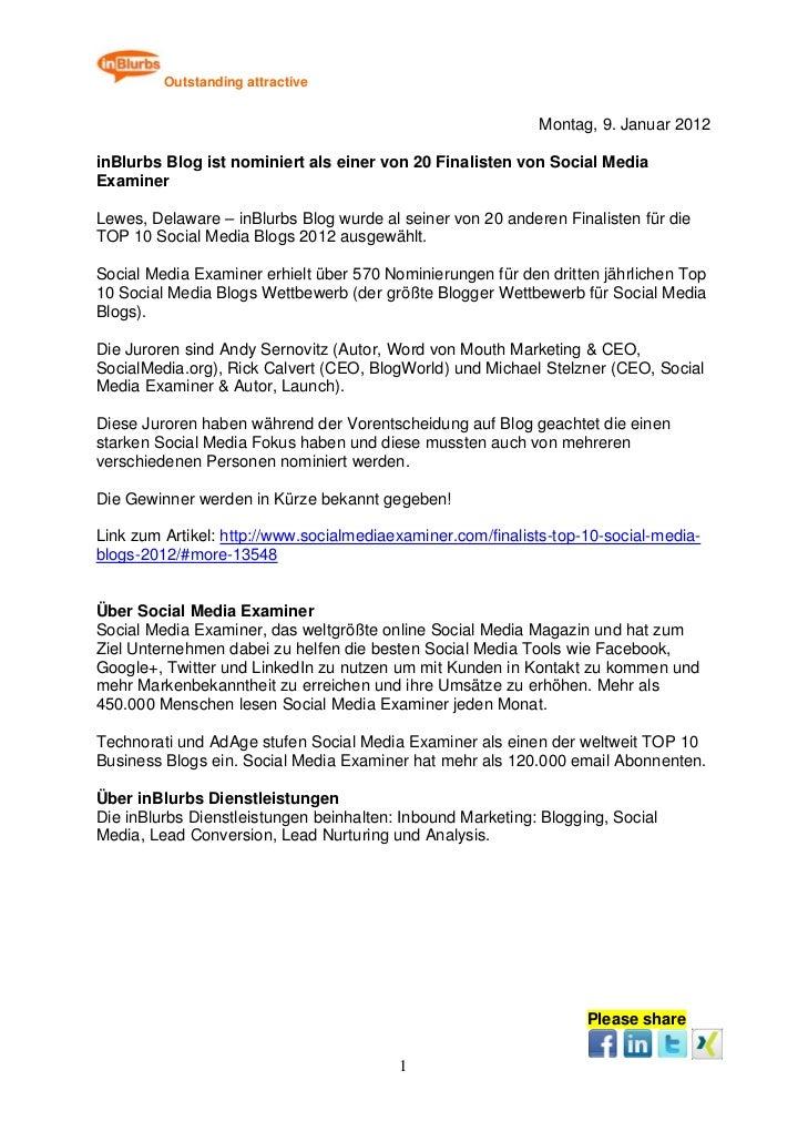 Pressemitteilung: Inblurbs blog ist nominiert al seiner von 20 finalisten von social media examiner