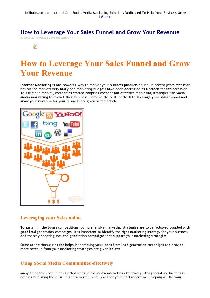 In blurbs how to leverage your sales funnel and grow your revenue