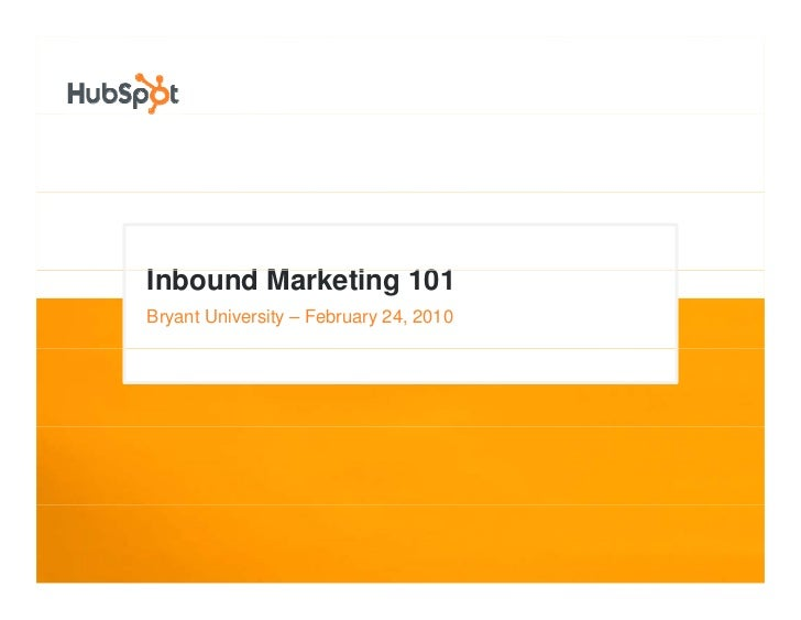 Inbound Marketing Crash Course for Bryant Marketing Association