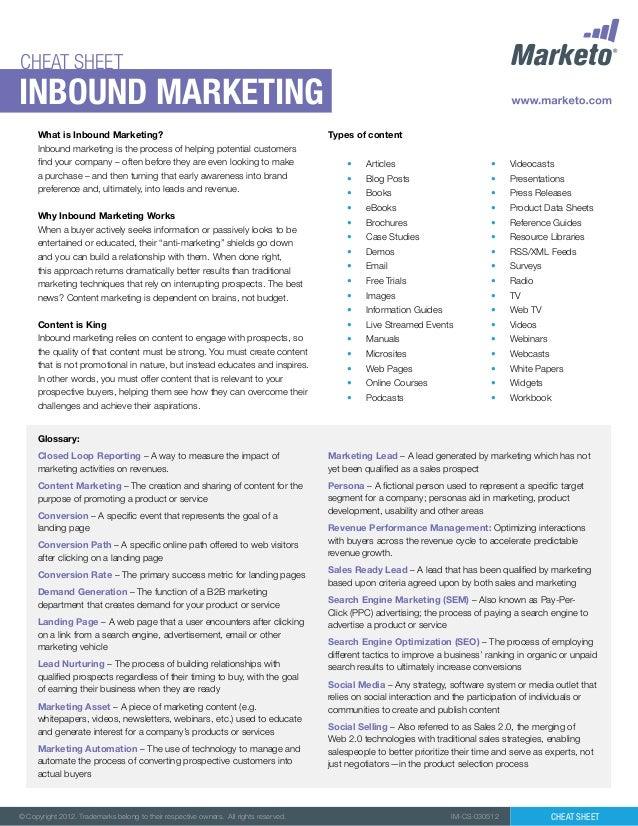 CHEAT SHEETInbound marketing     What is Inbound Marketing?                                                        Types o...