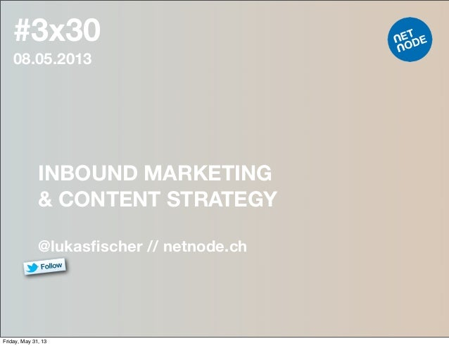 #3x3008.05.2013INBOUND MARKETING& CONTENT STRATEGY@lukasfischer // netnode.chFriday, May 31, 13