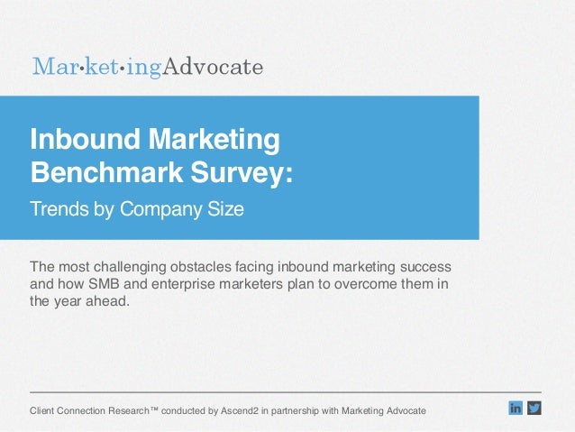 """Inbound Marketing  Benchmark Survey:  Trends by Company Size""""  The most challenging obstacles facing inbound marketing s..."""