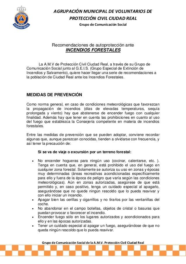 Grupo de Comunicación Social de la A.M.V. Protección Civil Ciudad Real AGRUPACIÓN MUNICIPAL DE VOLUNTARIOS DE PROTECCIÓN C...