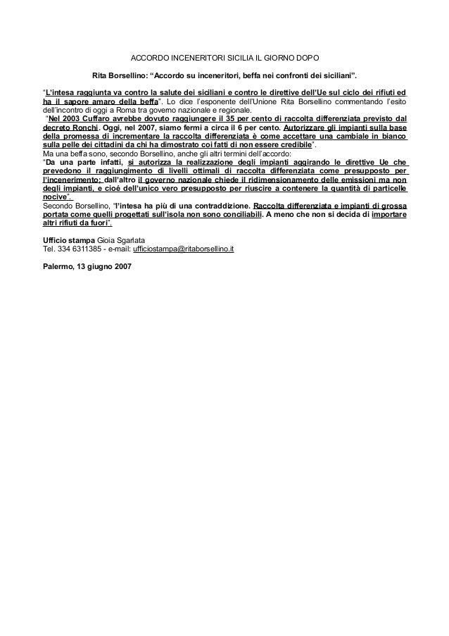 """ACCORDO INCENERITORI SICILIA IL GIORNO DOPO Rita Borsellino: """"Accordo su inceneritori, beffa nei confronti dei siciliani""""...."""