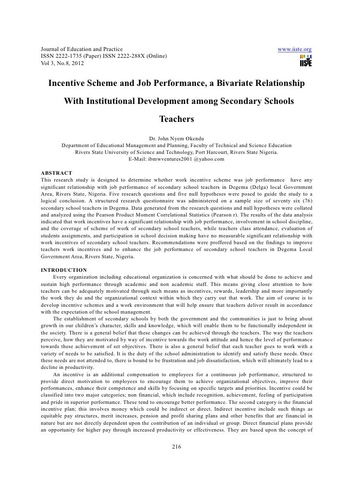 Incentive scheme and job performance, a bivariate relationship