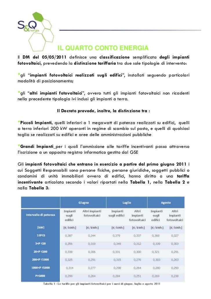 IL QUARTO CONTO ENERGIAIl DM del 05/05/2011 definisce una classificazione semplificata degli impiantifotovoltaici, prevede...