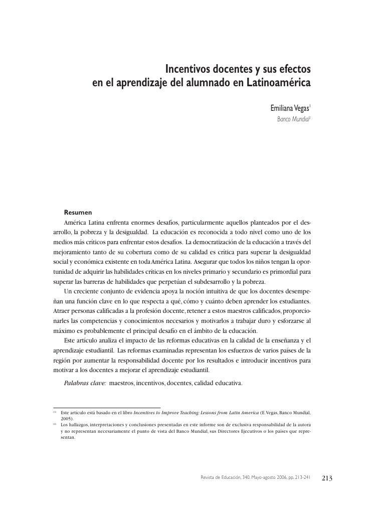 Incentivos docentes y sus efectos                     en el aprendizaje del alumnado en Latinoamérica                     ...