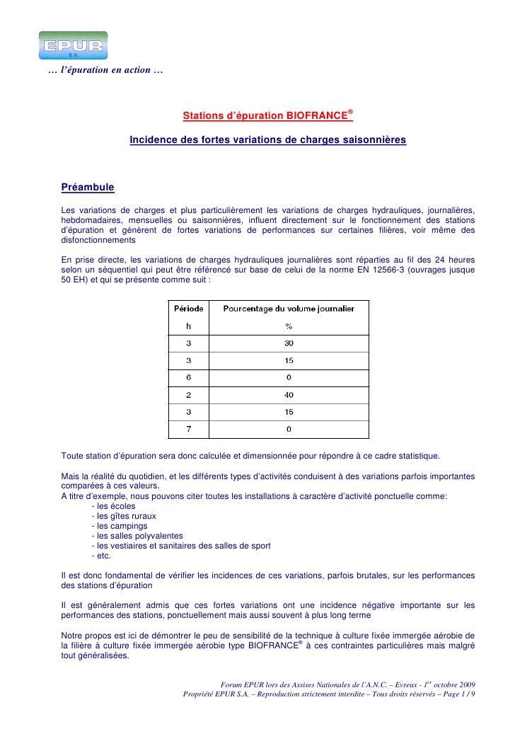 … l'épuration en action …                                       Stations d'épuration BIOFRANCE®                      Incid...