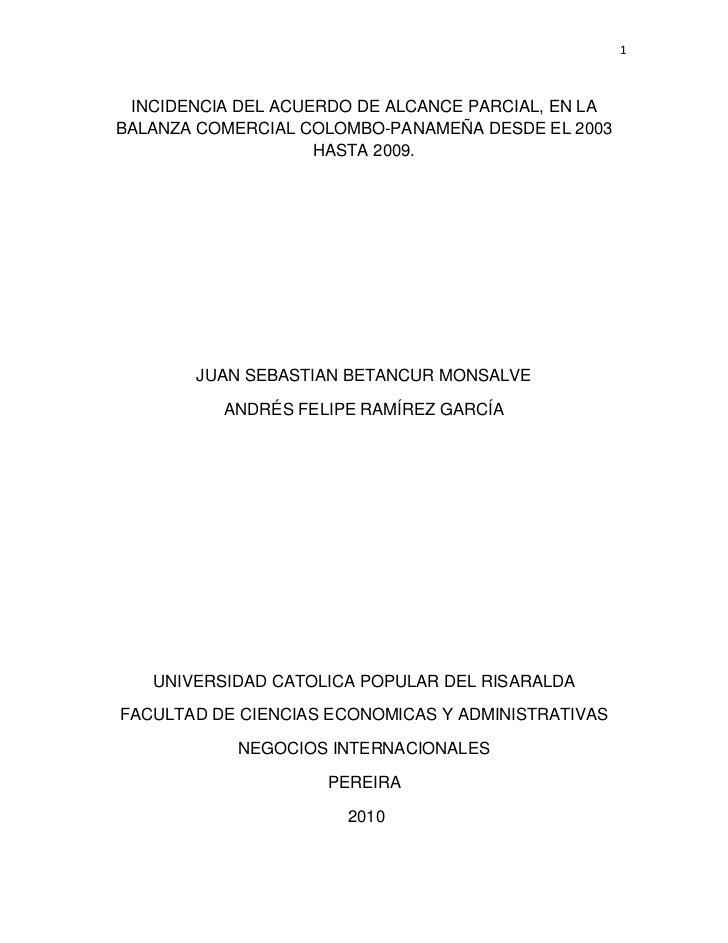INCIDENCIA DEL ACUERDO DE ALCANCE PARCIAL, EN LA BALANZA COMERCIAL COLOMBO-PANAMEÑA DESDE EL 2003 HASTA 2009.