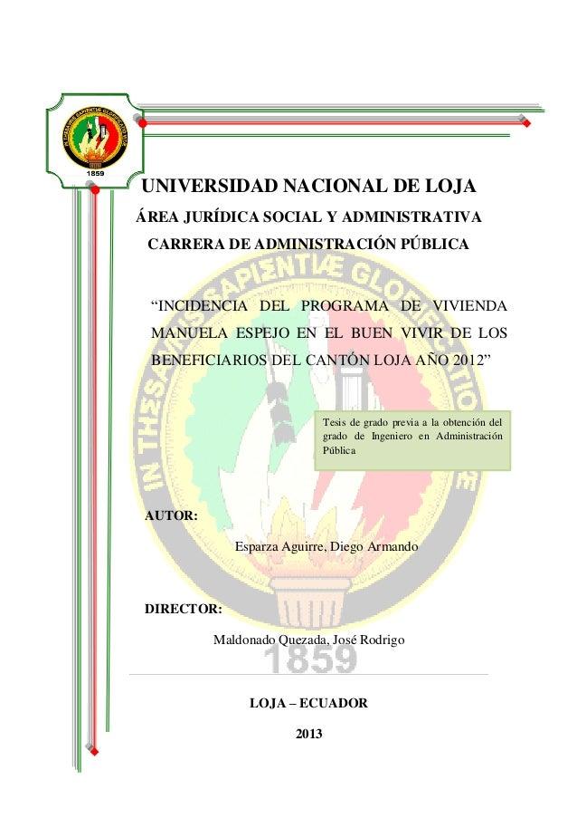 """PORTADA  UNIVERSIDAD NACIONAL DE LOJA  ÁREA JURÍDICA SOCIAL Y ADMINISTRATIVA  CARRERA DE ADMINISTRACIÓN PÚBLICA  """"INCIDENC..."""