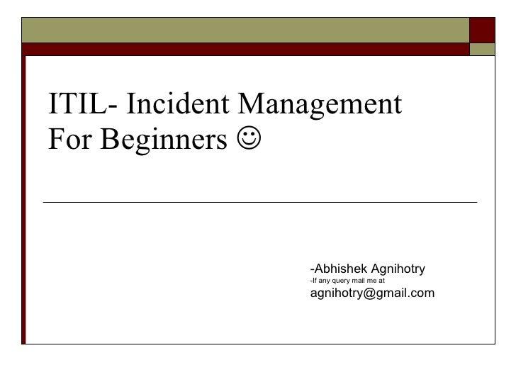 itil v3 templates - itil incident management