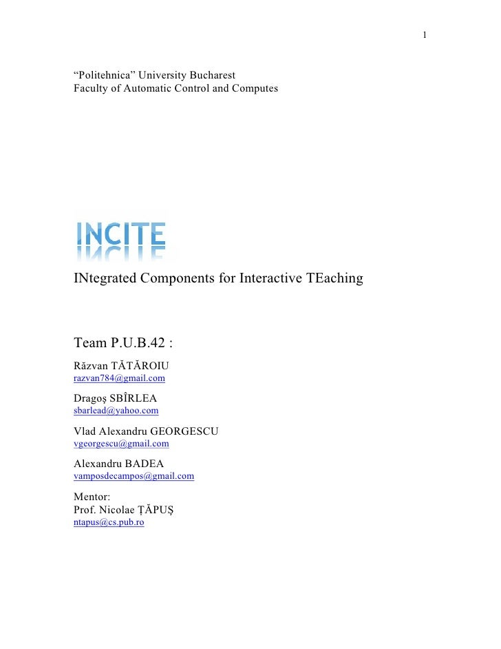 """1    """"Politehnica"""" University Bucharest Faculty of Automatic Control and Computes     INtegrated Components for Interactiv..."""