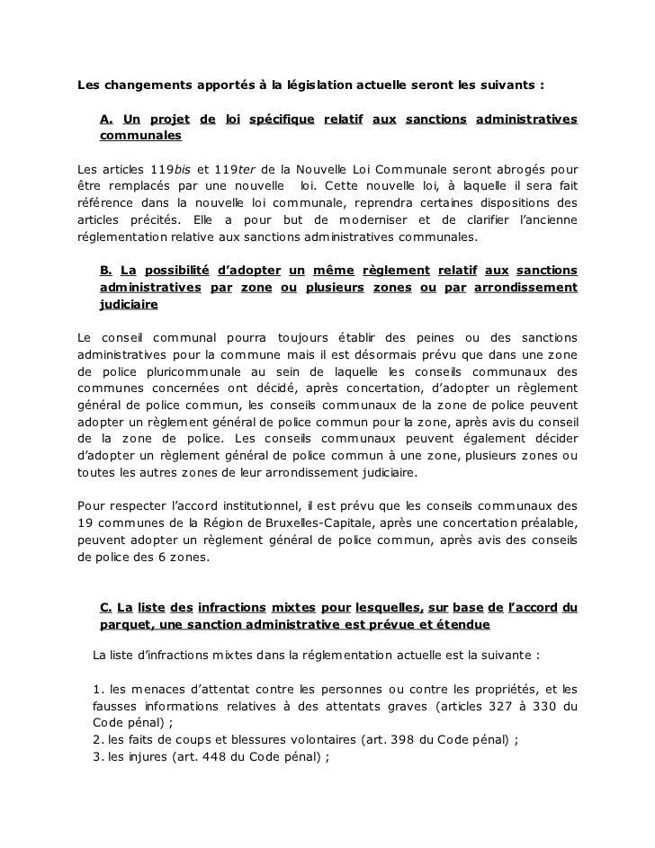 Les changements apportés à la législation actuelle seront les suivants :   A. Un projet de loi spécifique relatif aux sanc...