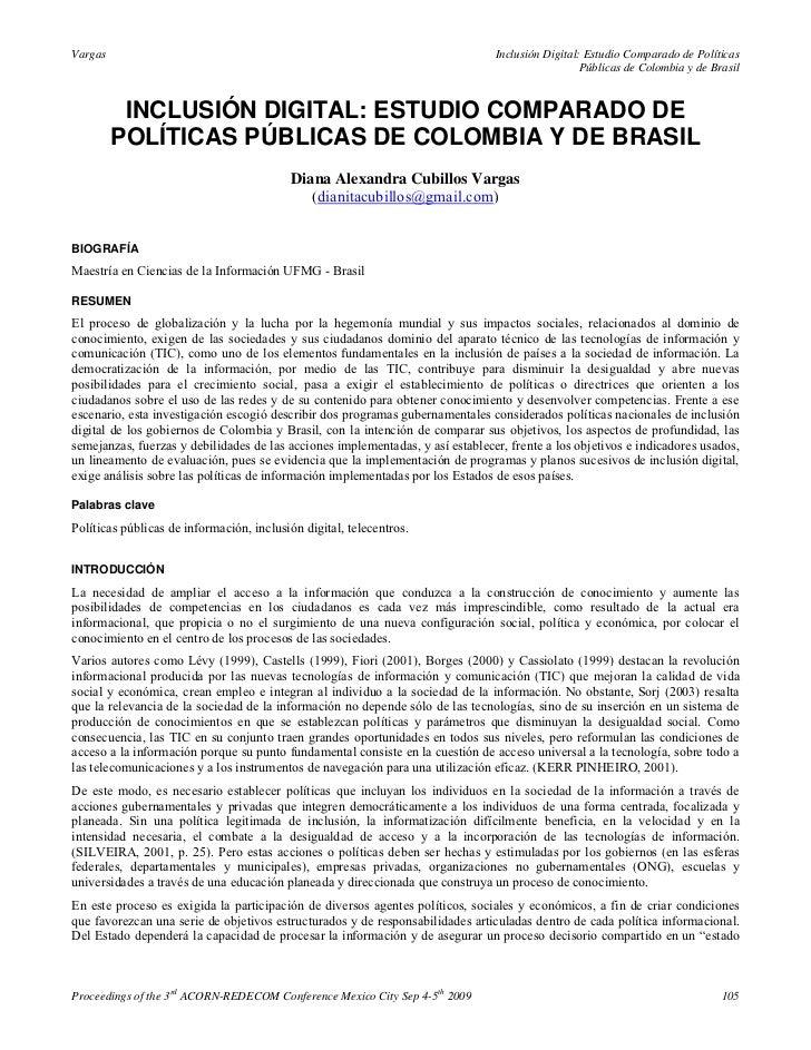 Inclusión digital estudio comparado de políticas públicas de colombia y de brasil   diana alexandra cubillos vargas (2009)