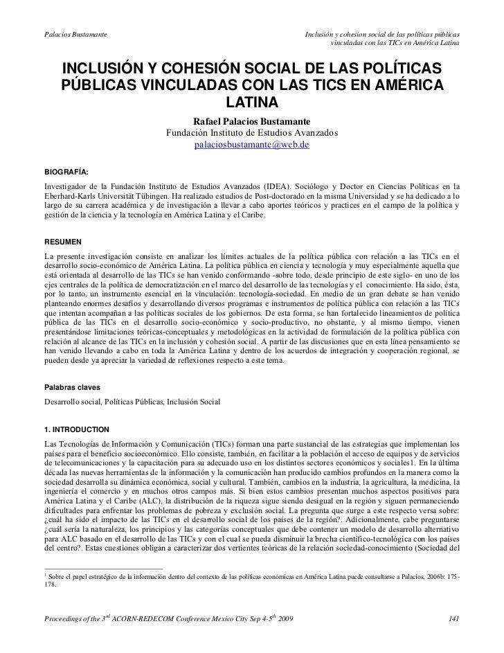 Inclusión y cohesión social de las políticas públicas vinculadas con las tics en américa latina   rafael palacios bustamante (2009)